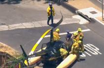 На улице Лос-Анджелеса вертолет совершил жесткую посадку (Видео)