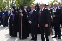 Серж Саргсян, Бако Саакян и высшее руководство Армении посетили воинский пантеон «Ераблур»