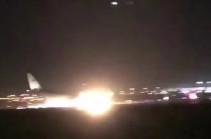 Посадка в Джидде пассажирского лайнера без шасси попала на видео