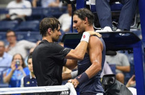 Rafael Nadal reaches US Open second round after David Ferrer retires hurt in his final Grand Slam appearance