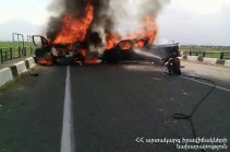 Six people burnt alive, ten transported to hospital after major accident in Armenia's Ararat region