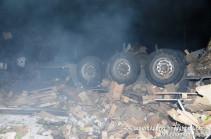 Քաղսի գյուղի հանդամասում «ԶԻԼ» բեռնատար է շրջվել