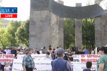 People in Jermuk gather protesting against Amulsar exploitation
