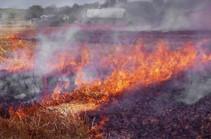 На пути к Хосровскому заповеднику горит 17 гектаров растительности