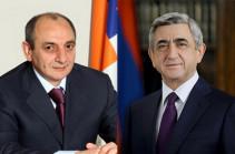 Մենք երդվել ենք պաշտպանել հայոց հողը և շենացնել այն, չընկրկել փորձությունների ու դժվարությունների առջև. Սերժ Սարգսյանը շնորհավորել է Բակո Սահակյանին