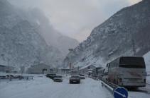 Mtskheta-Stepantsminda-Lars highway closed for traffic due to snow precipitation