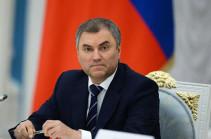 Speaker of Russian State Duma to visit Armenia