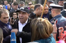 Why Nikol Pashinyan was allowed to close roads and we are not: protester to police officers
