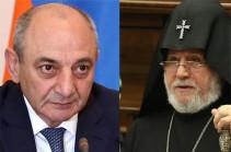 Bako Sahakyan congratulates Armenia's Catholicos on the occasion of the 20th anniversary of his enthronement
