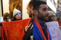 Молодежь АРФ «Дашнакцутюн» встретила в Брюсселе Араика Арутюняна акцией протеста