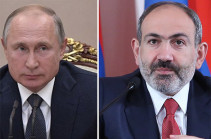 Russia highly values relations with Armenia: Putin congratulates Armenia's PM on New Year and Christmas holidays