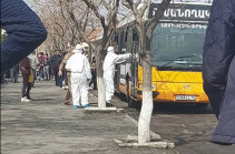 Medical workers examining citizens on Etchmiadzin highway