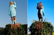 Статую Мелании Трамп подожгли на ее родине