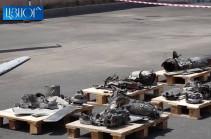 Հայաստանը ցուցադրեց վերջին օրերին ԶՈՒ կողմից խոցված ադրբեջանական անօդաչու թռչող սարքերի մնացորդները (Տեսանյութ)