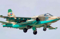 Azerbaijani air force operates Su-25 fighter jets along the border with support of Turkish F-16 fighter jets