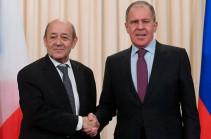 Լավրովը Ֆրանսիայի ԱԳՆ ղեկավարի հետ քննարկել է Ղարաբաղյան հակամարտության գոտում տիրող իրավիճակը