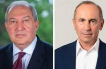 Armenia's President Armen Sarkissian meets with Robert Kocharyan