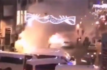 В Брюсселе демонстранты сожгли полицейский участок (Видео)