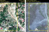 Azerbaijanis destroy Armenian cemetery in the village of Mets Tagher