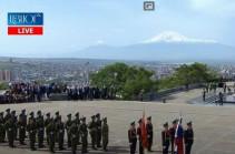 Гимны Армении и России, парадный марш армянских и российских военных: в Парке Победы отметили 9 мая (Видео)