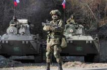 Подразделение военной полиции российского миротворческого контингента в Нагорном Карабахе обеспечивает безопасность передвижения гражданского транспорта