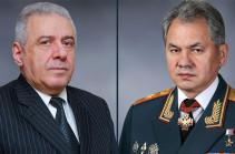 Հարությունյանն ու Շոյգուն քննարկել են Սյունիքի և Գեղարքունիքի հայ-ադրբեջանական սահմանային հատվածներում ՀՀ ԶՈՒ հետ համատեղ ռուս սահմանապահների տեղակայման հարցը