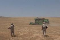 Российские миротворцы обеспечивают безопасность местных жителей, проводящих уборку урожая пшеницы в Мартунинском районе