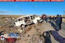 Երևան-Գյումրի ավտոճանապարհին «GAZel» մակնիշի մարդատար ավտոմեքենան դուրս է եկել ճանապարհի երթևեկելի գոտուց և կողաշրջվել. կա 6 զոհ և 9 տուժած
