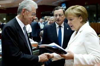 Merkel, Monti vow to 'protect eurozone'