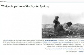 On April 24 English Wikipedia's picture of the day was dedicated to Armenian Genocide