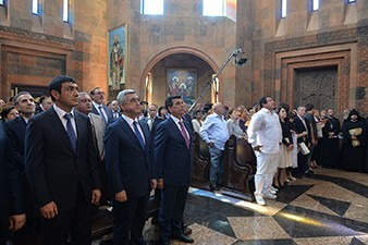 Armenian President Serzh Sargsyan attends consecration ceremony of new church in Nor Hachn city