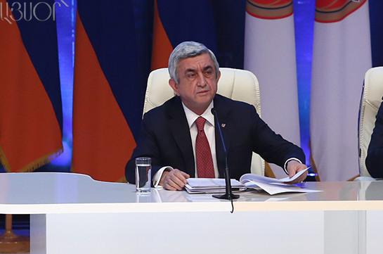 Серж Саргсян переизбран председателем РПА