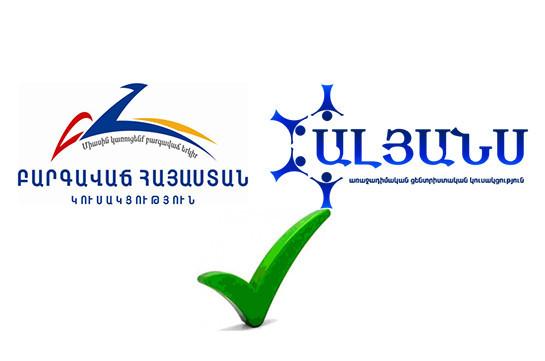 «Ծառուկյան» դաշինքի կազմում համագործակցության հուշագիր են ստորագրել «Բարգավաճ Հայաստան», «Ալյանս» և «Առաքելություն» կուսակցությունները