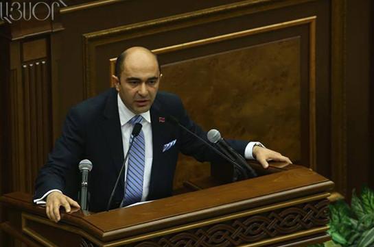 Ара Баблоян выдвинут напост спикера парламента отРПА