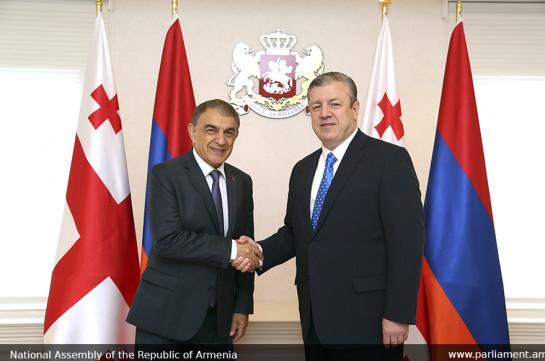 Спикер парламента Армении на встрече с премьером Грузии подчеркнул важность бесперебойной работы КПП Верхний Ларс