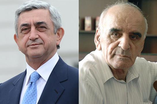 Серж Саргсян поздравил с юбилеем народного артиста Армении Артавазда Пелешяна