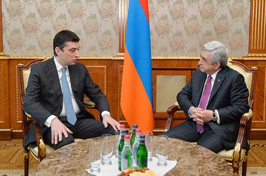 Սերժ Սարգսյանն ընդունել է Վրաստանի փոխվարչապետ, ՆԳ նախարար Գիորգի Գախարիային