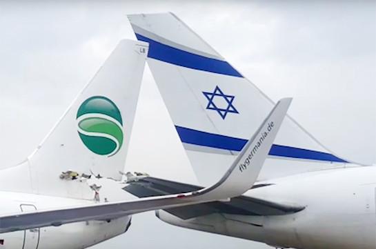 В аэропорту Тель-Авива столкнулись два самолета (Видео)