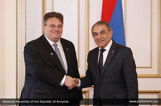Armenian NA chairman, Lithuanian FM discuss cooperation issues