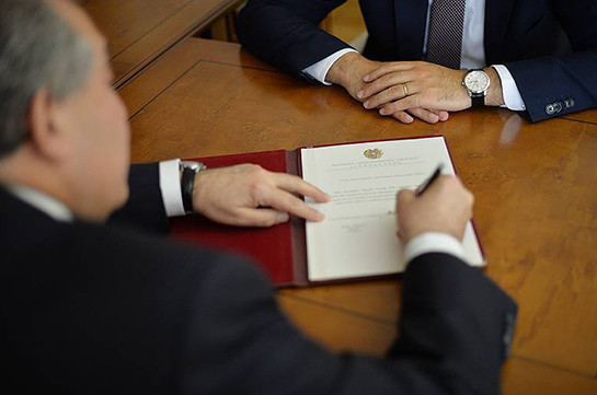Armenia's President signs decree appointing new Minister of Sport and Youth Affairs