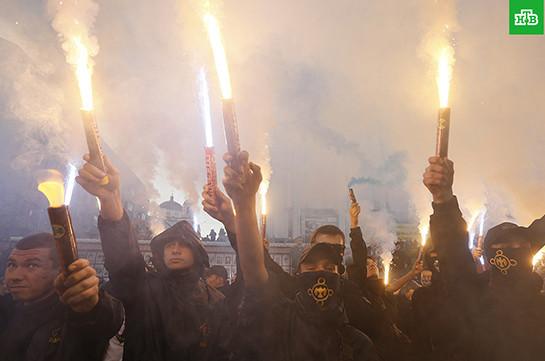 """Радикалы попытались поджечь офис организации """"Украинский выбор - право народа"""""""