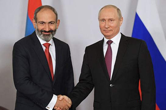 Никол Пашинян поздравил Владимира Путина и Дмитрия Медведева по случаю государственного праздника России