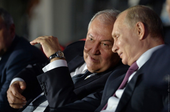 Russia's president congratulates Armenia's counterpart Armen Sarkissian on occasion of Armenia's Independence Day