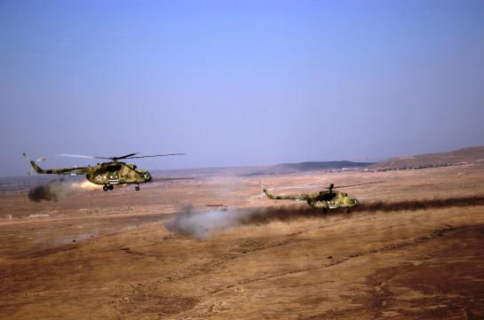 В Армении летчики армейской авиации ЮВО уничтожили колонну бронетехники условного противника в ходе российско-армянского учения