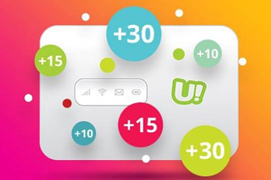 Абоненты мобильного интернета uGo будут получать дополнительные гигабайты 20-го числа каждого месяца