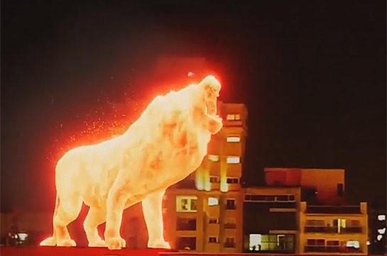 Огненный лев на стадионе (Видео)