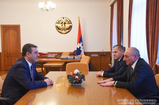 Bako Sahakyan receives acting director of Armenia's NSS Eduard Martirosyan