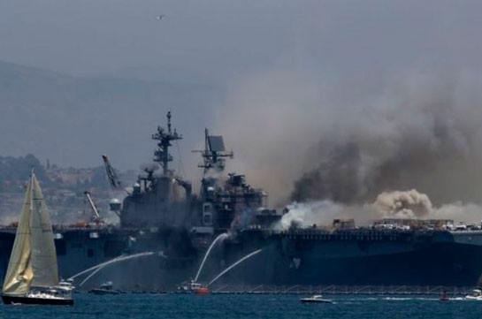 21 человек пострадал в результате взрыва на военном корабле в США (Видео)