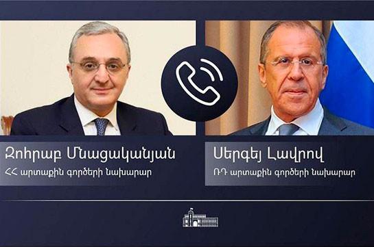 Armenian, Russian FMs hold phone conversation, discuss tensed situation on Armenian-Azerbaijani border