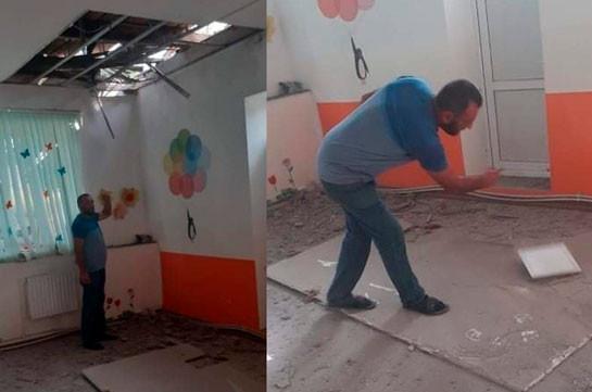 Azerbaijani armed forces shell Aygepar's kindergarten (photos)